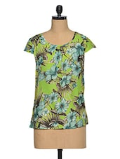 Multicolored  Polyester Beautiful Floral Top - Oxolloxo