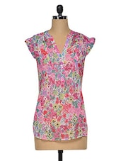 Multicolored  Polyester Floral Top - Oxolloxo