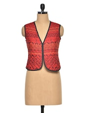 Red Tribal Print Quilted Short Jacket - Oxolloxo