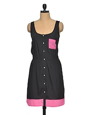 Casual Black Long Dress With Pink Pocket - Oxolloxo
