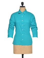 Cotton Sea Green Full Sleeve Shirt - Oxolloxo