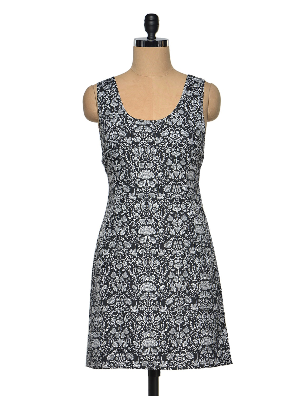 Floral Printed Sleeveless Polyester Dress - Oxolloxo