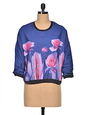 Blue & Pink Floral Polyester Top - Oxolloxo