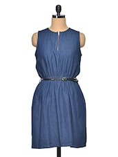Blue Sleeveless Denim Dress - Oxolloxo