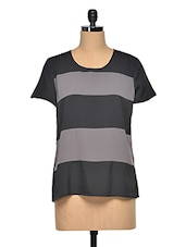 Black-Grey Striped Polyester Top - Oxolloxo
