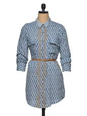 Blue-White Printed Full Sleeve Shirt - Oxolloxo