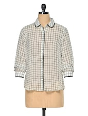 Off-White-Black Check Sheer Shirt - Oxolloxo