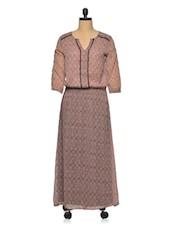 Brown Sheer Polyester Maxi Dress - Oxolloxo