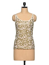 Paisley & Floral Sequin Work Sleeveless Top - Aaliya Woman
