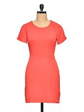 Red Short Sleeve Bodycon Dress - Aaliya Woman
