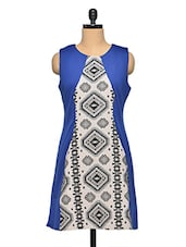 Geometric Printed Color Block Shift Dress - Aaliya Woman
