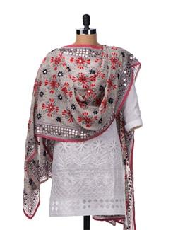 White Handcrafted Phulkari Dupatta - Vayana