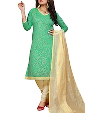 Sea Green And Gold Embroidered Unstitched Suit Set - By