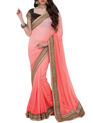 peach embroidered chinon silk saree