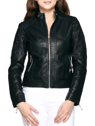 black faux leather jacket