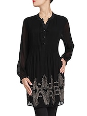 Black Pintuck Detailed Georgette Kurta - By