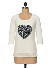 Embroidered Ecru Polyester Top - RENA LOVE