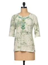 Green Marble Print Top - RENA LOVE