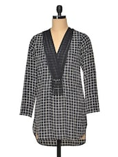 Checkered Monochrome Polyester Top - RENA LOVE