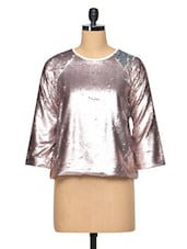 Shiny Pink Polyester Top - RENA LOVE