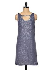 Stone Grey Sequinned Dress - RENA LOVE