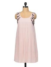 Blush Pink Pleated Flare Dress - RENA LOVE