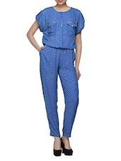 Printed Blue Polyester Jumpsuit - RENA LOVE