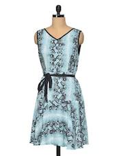 Printed Polyester Blue Tone Dress - RENA LOVE