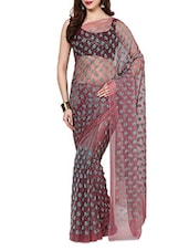Pink Velvet Flocking Net Saree With Blouse - AKSARA
