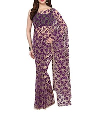 Purple Velvet Flocking Net Saree With Blouse - AKSARA