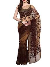 Brown Velvet Flocking Net Saree With Blouse - AKSARA