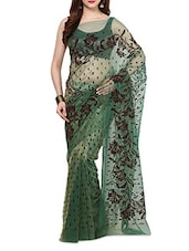 Green Velvet Flocking Net Saree With Blouse - AKSARA