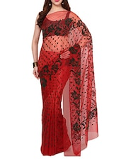 Red Velvet Flocking Net Saree With Blouse - AKSARA
