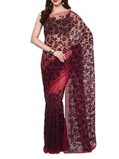 Peach Velvet Flocking Net Saree With Blouse - AKSARA