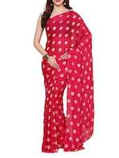 Golden Weaved Booty Magenta Self Crepe With Blouse - AKSARA