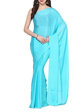 Aqua Blue Self  Polka Dots Saree With Blouse - AKSARA