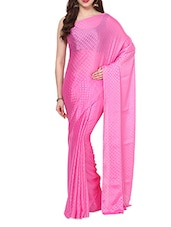 Pink Self  Polka Dots Saree With Blouse - AKSARA