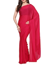 Magenta Self  Polka Dots Saree With Blouse - AKSARA