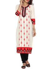 Embroidered  White & Red  Straight Cambric Long Kurta - Aaboli