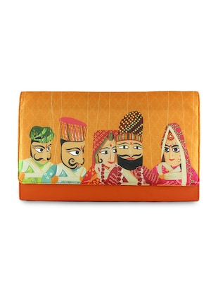 orange graphic printed clutch