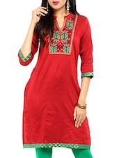 Red  Embroidered Mandarin Neck Kurti - Aaboli