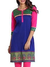 Royal Blue Brocade Yoke With Contrast Sleeves Kurti - Aaboli