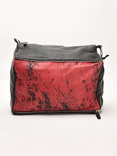 Black And Red Leather Shoulder Bag - By