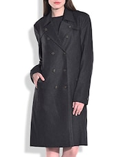Solid Charcoal Grey Woolen Trench Coat - By