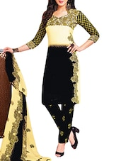 Black And Cream Printed  Unstitched Suit Set - By