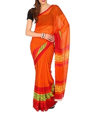 Geometric Print Orange Chiffon Saree - Aaboli