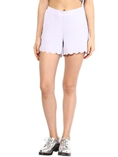 Baby Pink Scalloped Hem Shorts - By
