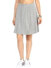 Solid Grey Flared Skirt - By