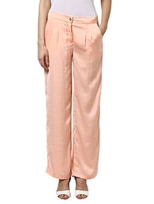 solid peach loose trousers