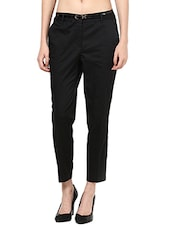 Solid Black Ankle Length Trousers - By